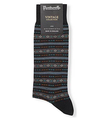 PANTHERELLA - Fulwell fair isle stripe wool-blend socks ...