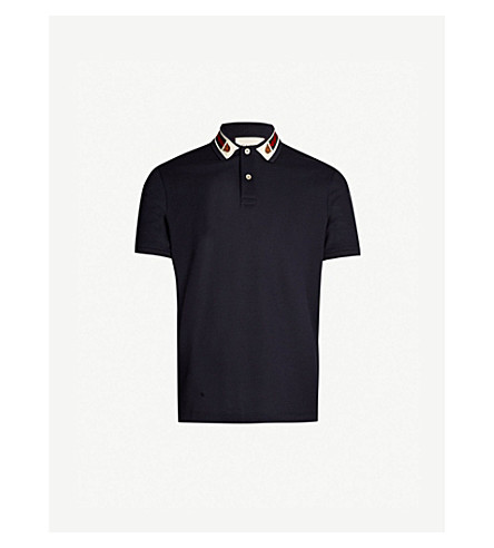 f1adecdc4e2 ... GUCCI Logo-taping cotton-piqué polo shirt (Navy. PreviousNext