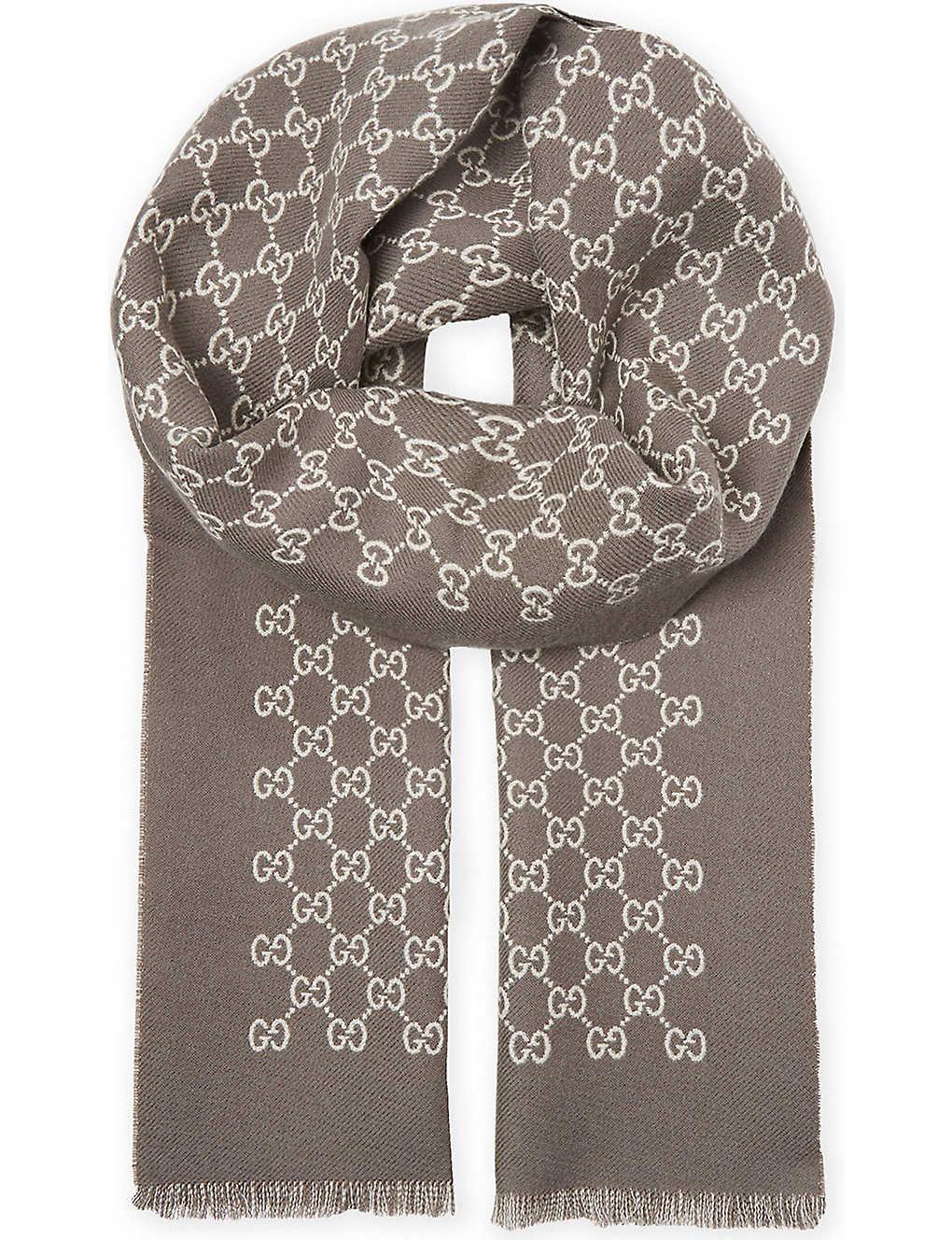 GUCCI - Logo wool scarf   Selfridges.com 0ddf3ef058