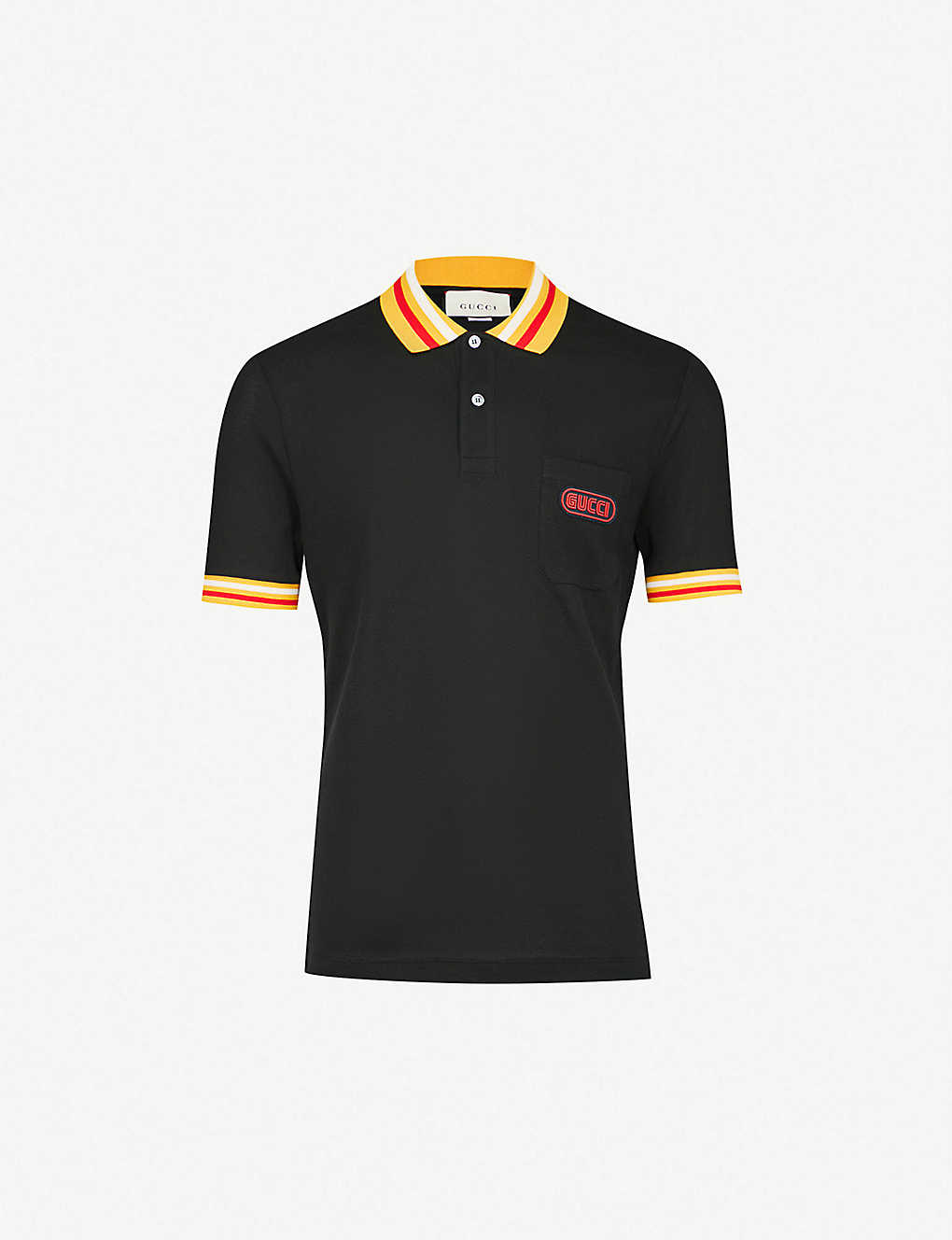 Gucci Logo Print Cotton Pique Polo Shirt Selfridges Com