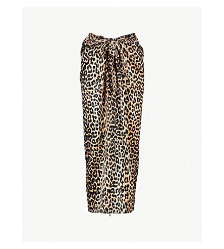 Calla Leopard Print Stretch Silk Midi Skirt by Ganni