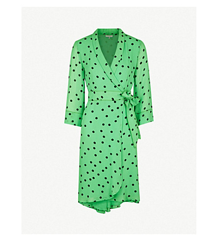 Polka Dot Crepe Wrap Dress by Ganni