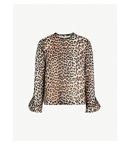 1ac898f3 ... GANNI Mullin leopard-print georgette top (Leopard. PreviousNext