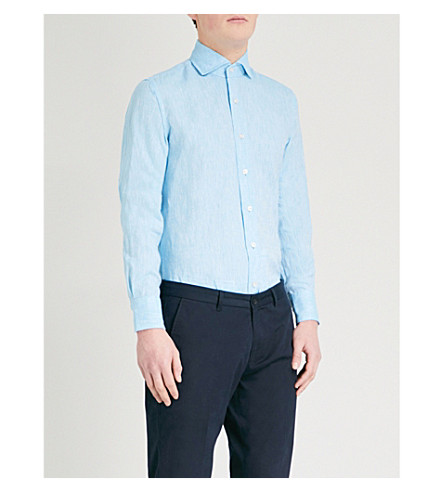 ... EMMETT LONDON Slim-fit linen shirt (Aqua. PreviousNext
