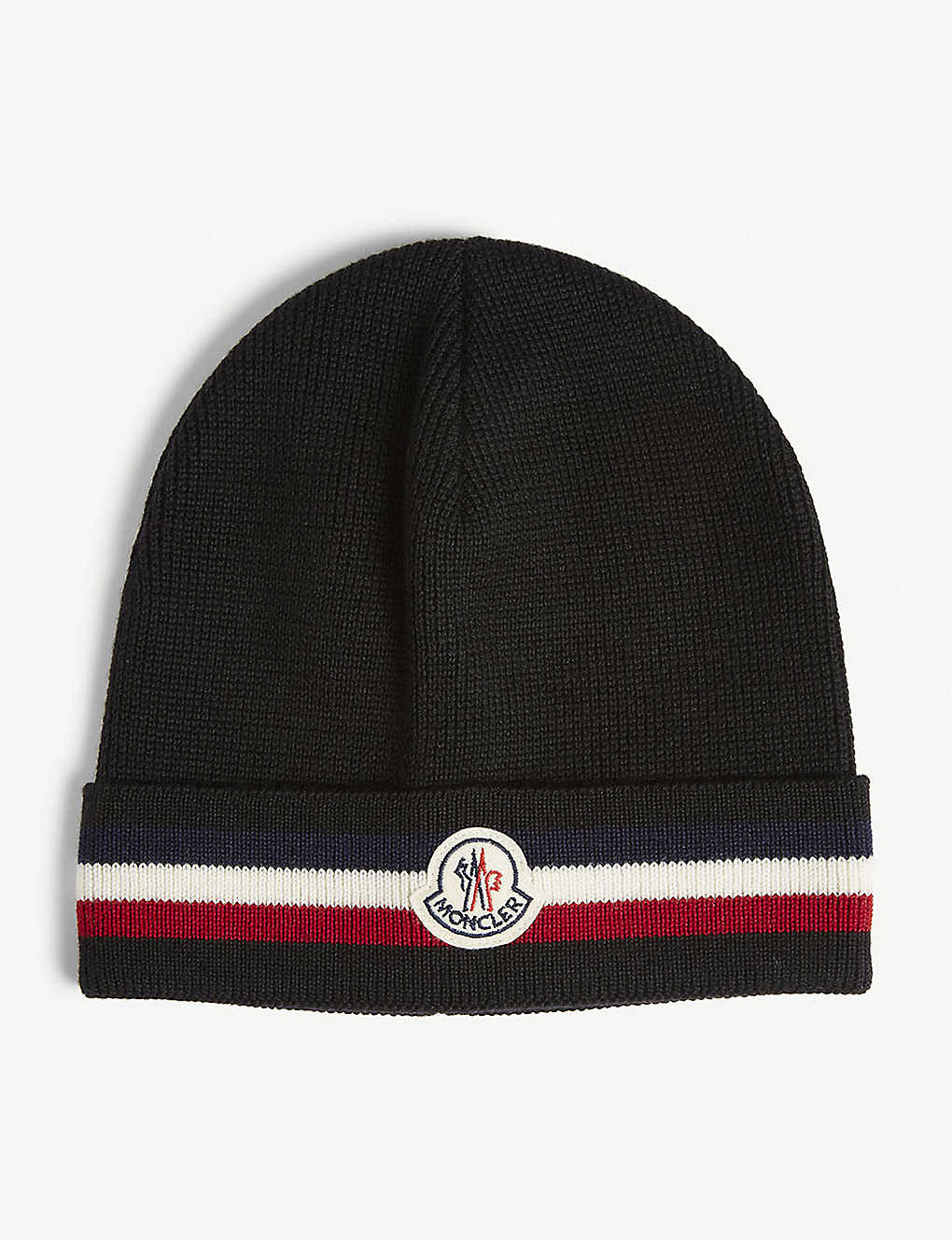 MONCLER - Striped logo virgin wool beanie  51155b41bbc