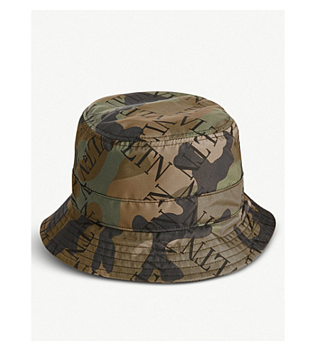 VALENTINO - Logo-print camouflage-print woven bucket hat ... a90701e7374