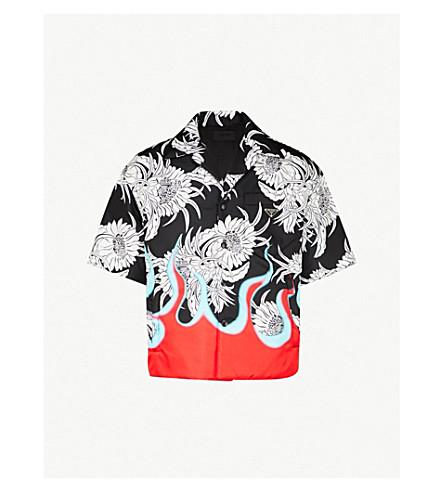 Flame Print Regular Fit Cotton Shirt by Prada