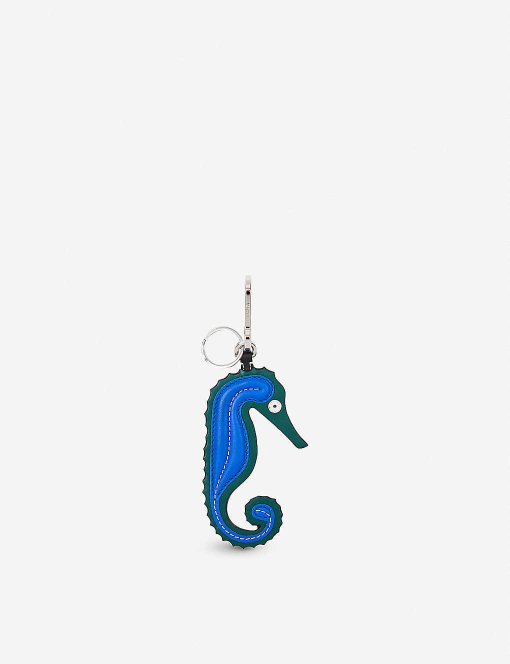 Sea Horse Charm Bag Accessory in Green and Blue Calf and Brass Loewe ne5EXMp5