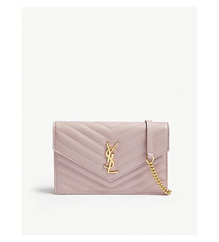 Monogram Leather Envelope Wallet On Chain by Saint Laurent