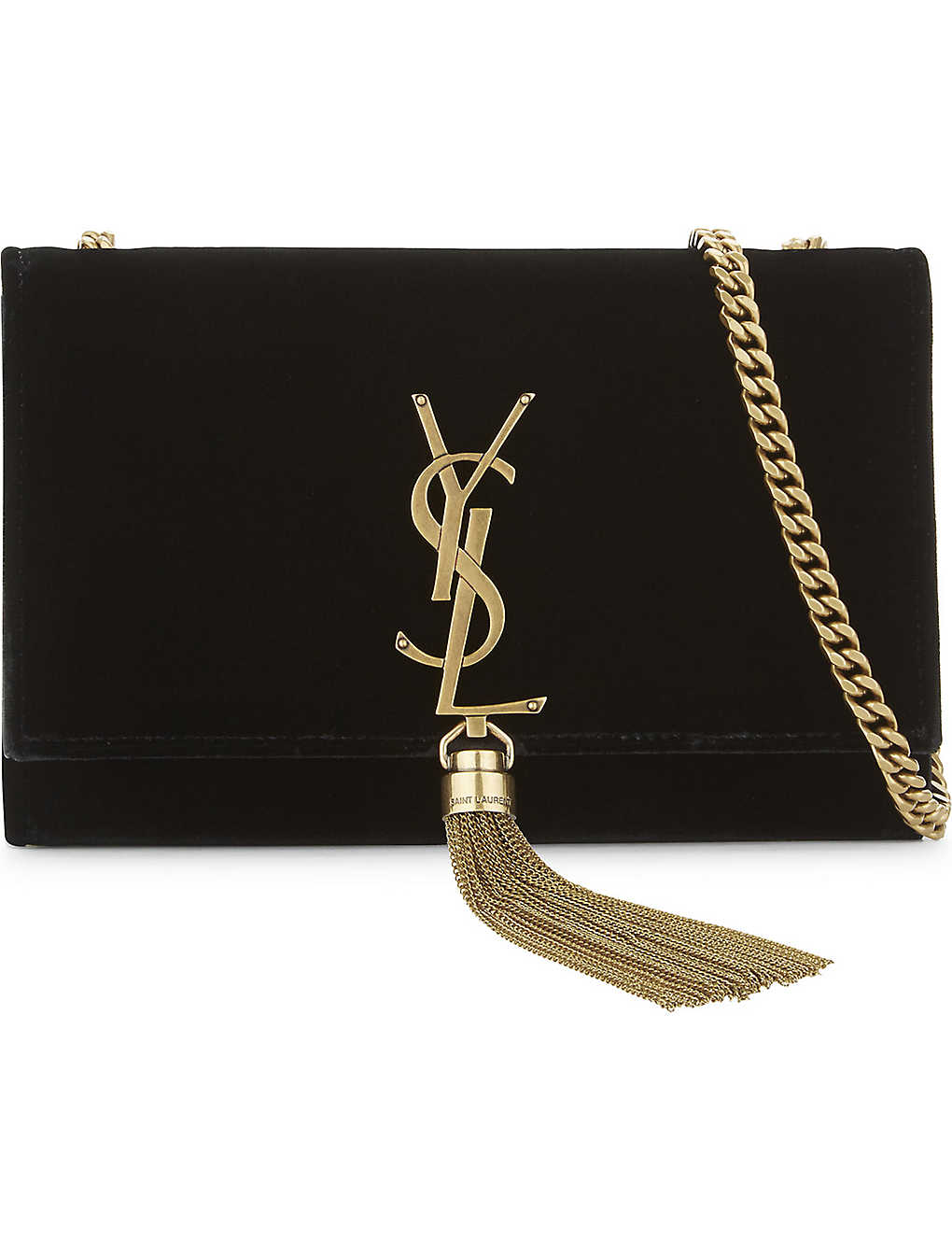 SAINT LAURENT - Kate Tassel Monogram small velvet cross-body bag ... 60c0f06bb6