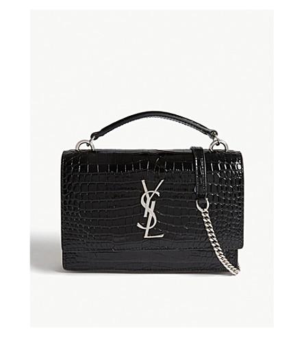Sunset Croc Embossed Leather Shoulder Bag by Saint Laurent