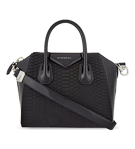 GIVENCHY Antigona small patent leather and python tote (Black