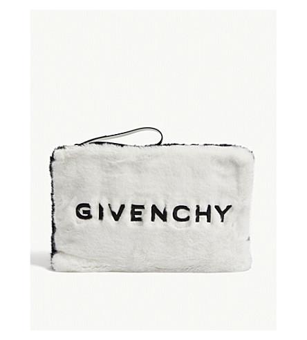 437f1152f03c ... GIVENCHY Logo faux-fur clutch (White black. PreviousNext