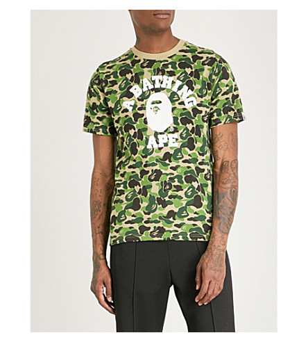 College Logo Camouflage Print Cotton Jersey T Shirt by A Bathing Ape