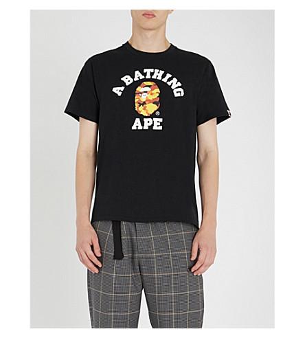 College Logo Print Cotton Jersey T Shirt by A Bathing Ape