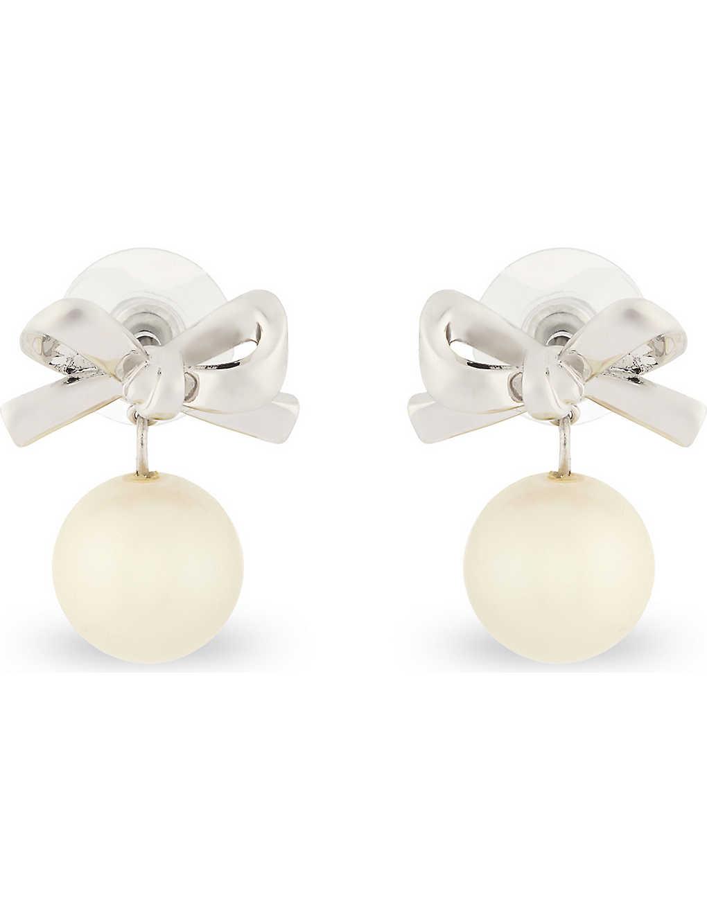 KATE SPADE NEW YORK - Mini bow pearl drop earrings   Selfridges.com