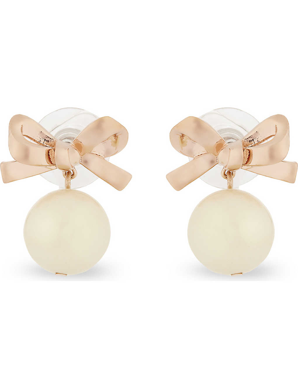 KATE SPADE NEW YORK - Mini bow pearl 12ct rose gold-plated earrings ...
