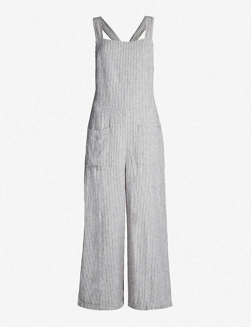 45f830ded33a FREE PEOPLE - Off the Shore striped linen-blend jumpsuit ...