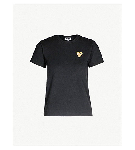 d92b976629de9 ... COMME DES GARCONS PLAY Gold heart-embroidered cotton-jersey T-shirt ( Black. PreviousNext