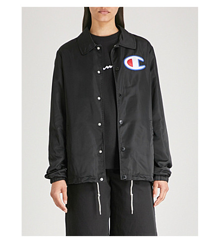 Logo Embroidered Shell Coach Jacket by Champion