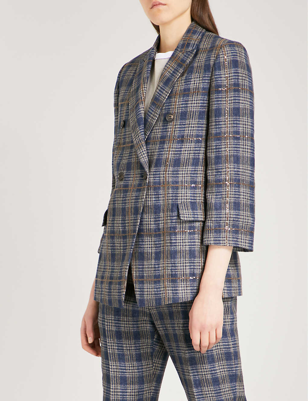 Sequined Checked Woven Blazer - Blue Brunello Cucinelli Outlet With Mastercard Outlet Where Can You Find Perfect Sale Online jpuFp0