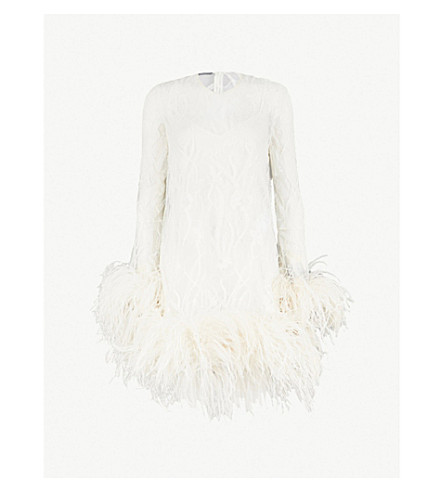 Ostrich Feather Detail Lace Mini Dress by Alexander Mcqueen