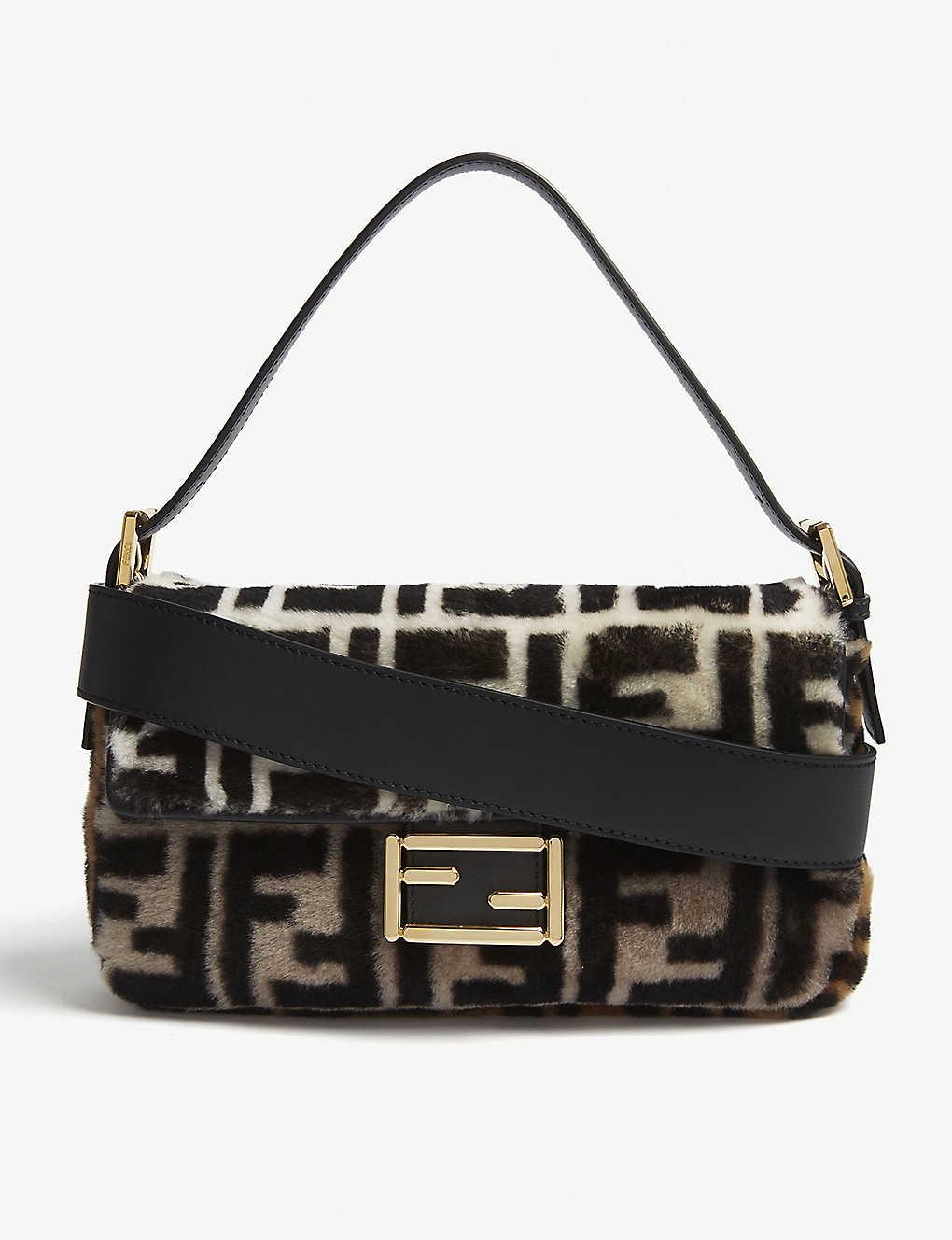 FENDI - Logo shearling baguette shoulder bag  60154734ba4ac