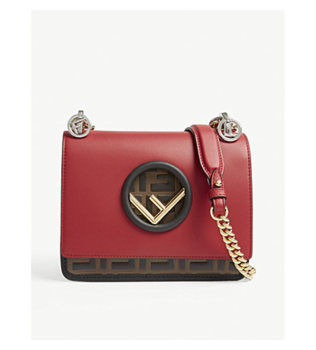 ... FENDI Fendi Kan I logo small leather cross-body bag (Red brown .  PreviousNext 7600432b01