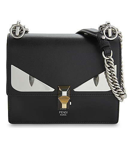 5aca2cd97a0f ... FENDI Kan I monster leather shoulder bag (Black. PreviousNext