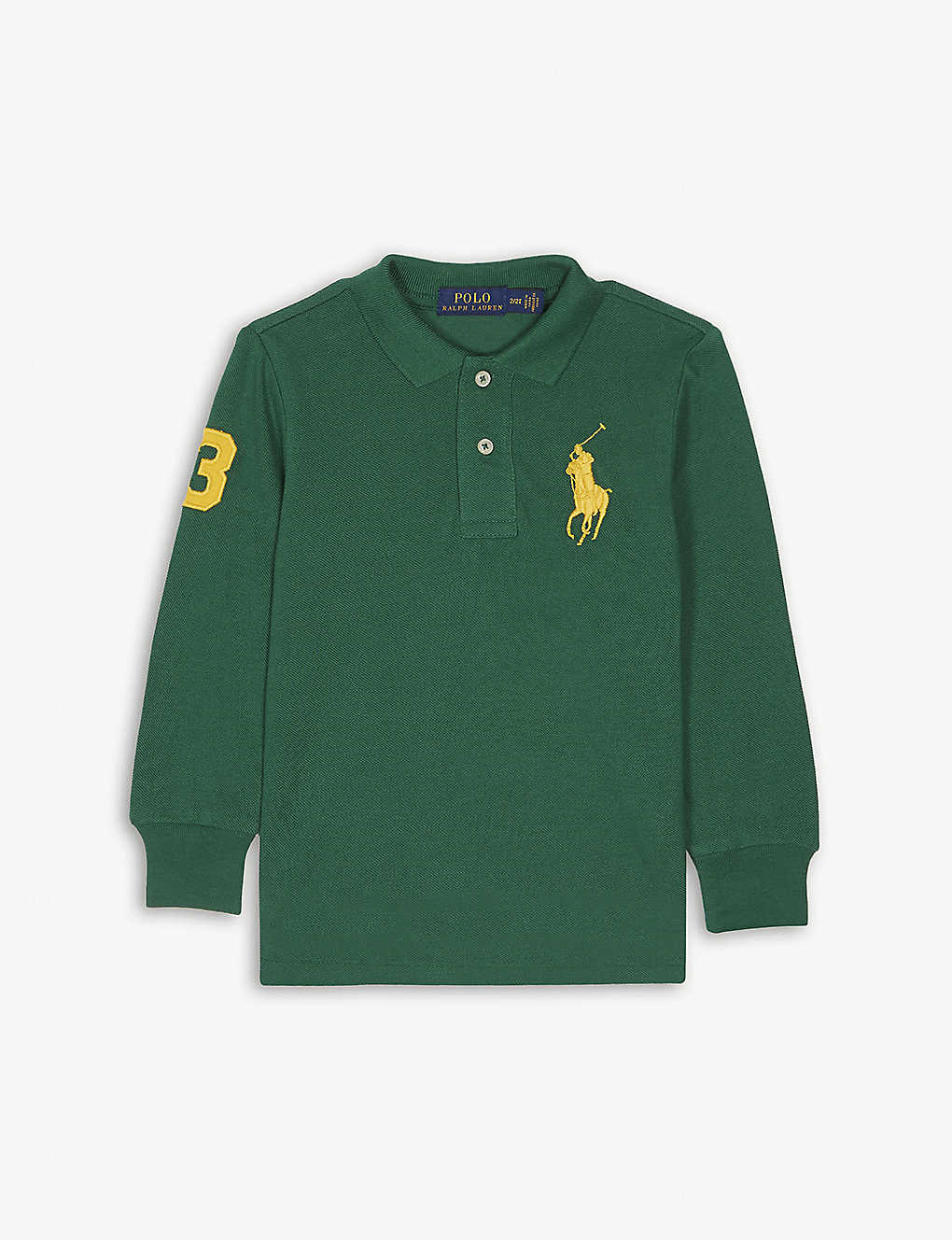 Ralph Lauren Large Logo Long Sleeved Cotton Polo Shirt 2 7 Years
