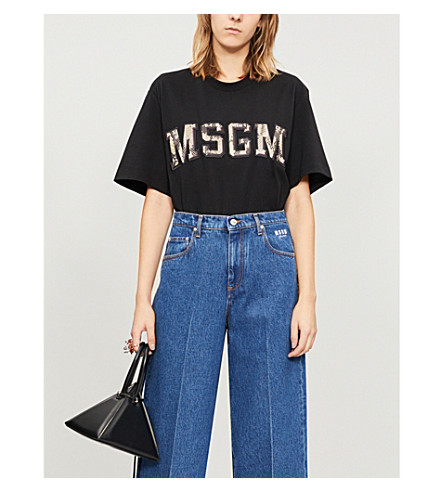 Python Logo Embroidered Cotton Jersey T Shirt by Msgm