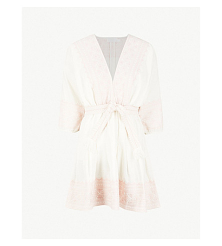 Laelia Belted Cotton And Linen Blend Mini Dress by Zimmermann