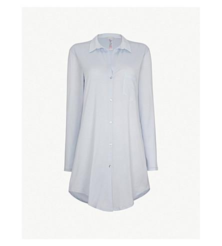 28b9e77dbc ... HANRO Deluxe cotton nightshirt (Blue+glow. PreviousNext
