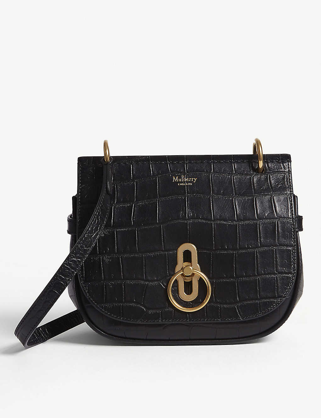 3fb51a17990b MULBERRY - Amberley croc-embossed leather cross-body bag ...