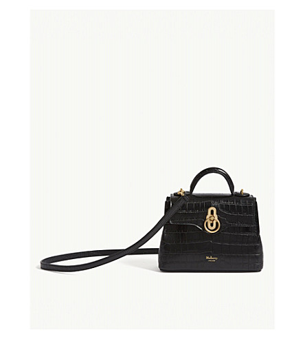 Micro Seaton Croc Embossed Leather Shoulder Bag by Mulberry