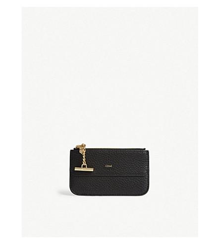 chloe drew leather card holder black previousnext - Chloe Card Holder