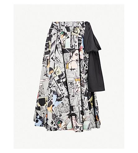 Comic Print Cotton Midi Skirt by Prada
