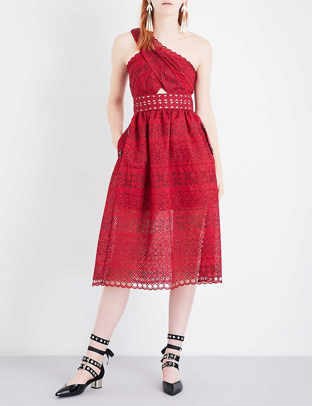 Christmas dress boutiques - Self Portrait One Shoulder Cutout Midi Dress