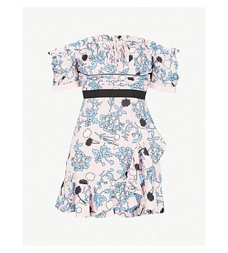 Floral Print Frill Off The Shoulder Crepe Dress by Self Portrait
