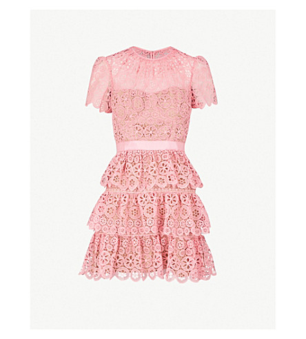 Tiered Lace Mini Dress by Self Portrait