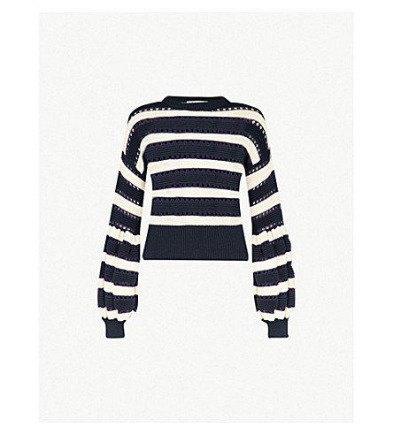 Striped Balloon Sleeve Cotton And Wool Blend Jumper by Self Portrait