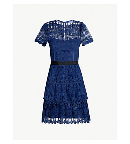Tiered Guipure Lace Mini Dress by Self Portrait
