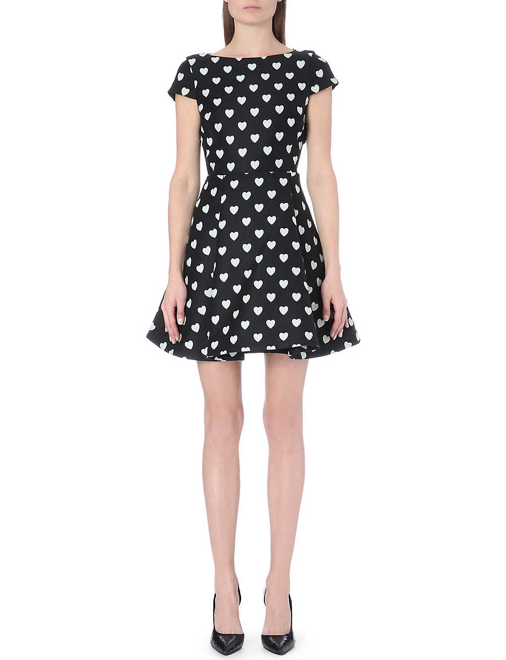 ALICE & OLIVIA Amor heart-print dress (Black+white