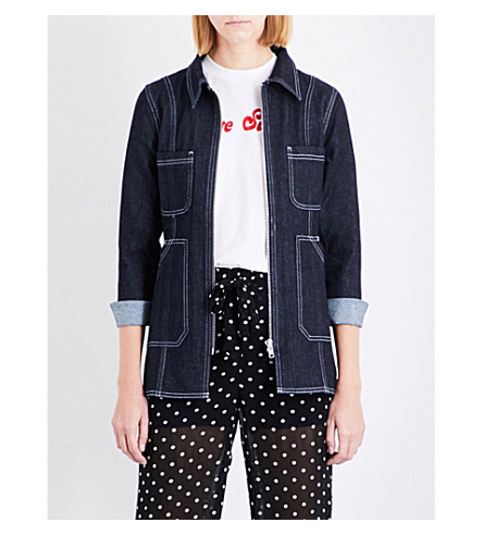 GANNI - Sheffield stretch-denim jacket | Selfridges.com
