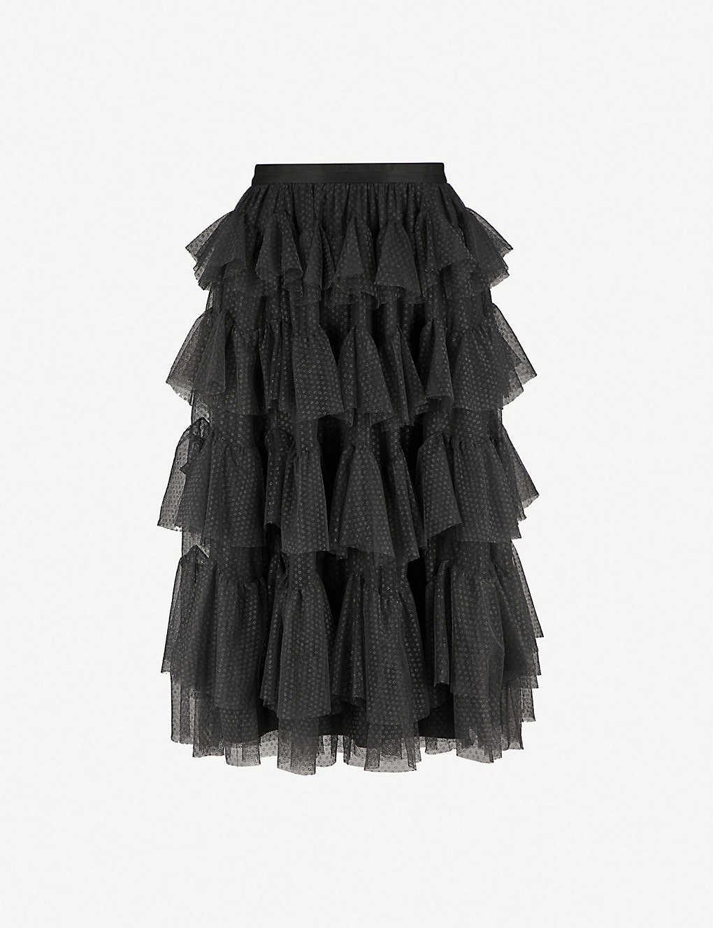 476d017eb4 NEEDLE AND THREAD - Scallop ruffled chiffon midi skirt