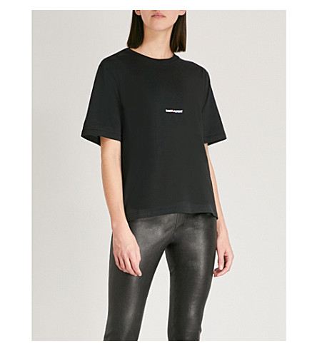 Logo Print Cotton Jersey T Shirt by Saint Laurent