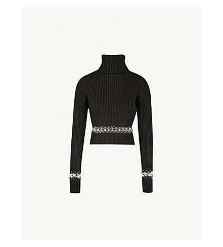 Ring Detail Ribbed Knit Turtleneck Jumper by David Koma