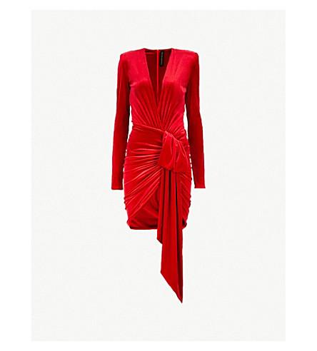 5c49fdc7de ... ALEXANDRE VAUTHIER Plunging V-neck ruched velvet mini dress (Scarlet.  PreviousNext
