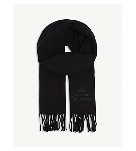 Logo Embroidered Wool Scarf by Vivienne Westwood