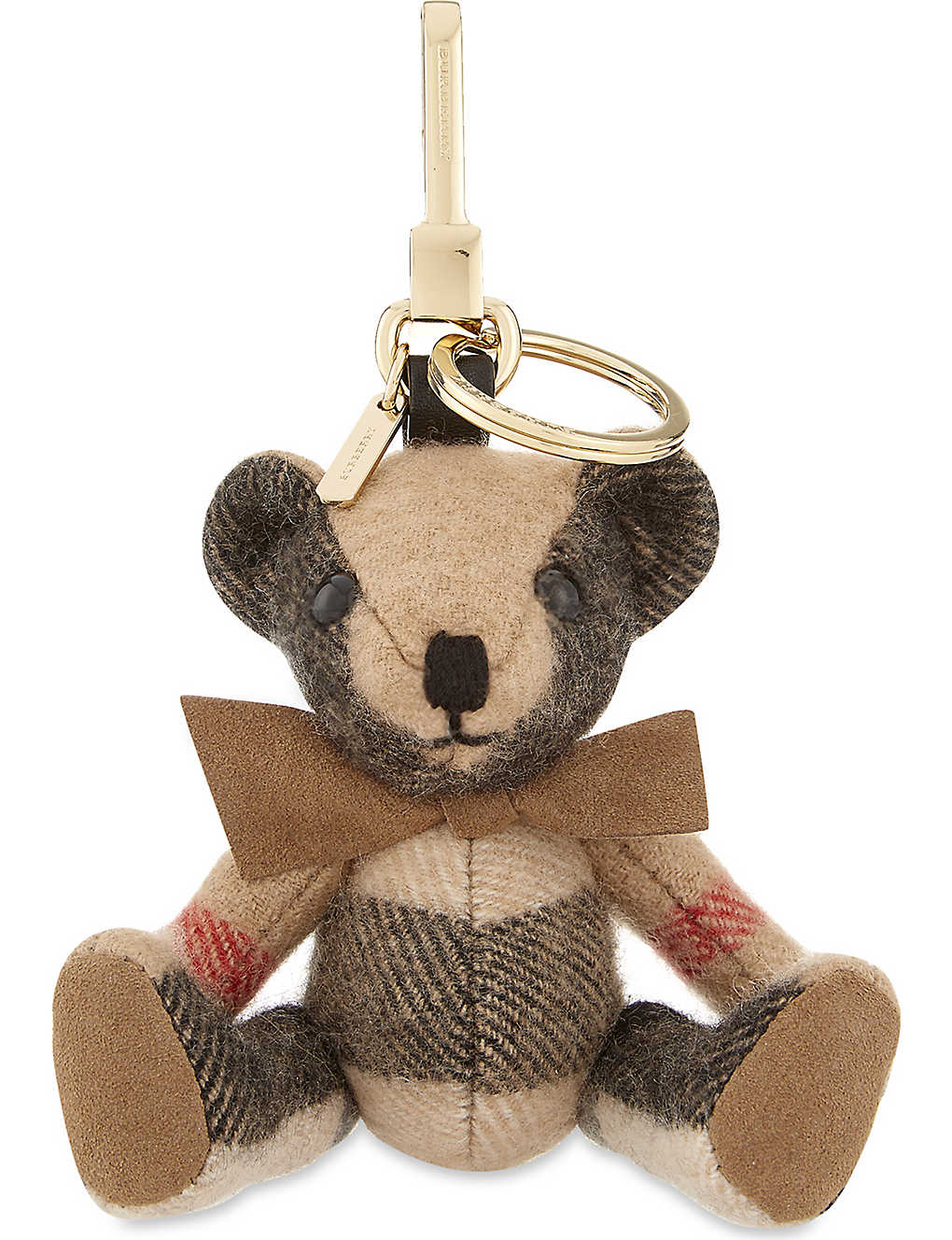 Burberry Thomas Bear House-checked cashmere keyring mflo3af